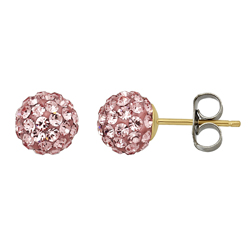 14kt Gold 6 8mm Pink Crystal Ball Earrings Discontinued